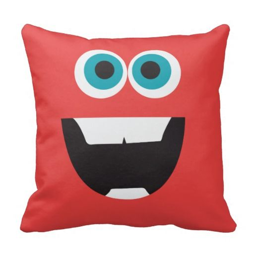 Red Silly Face Throw Pillows
