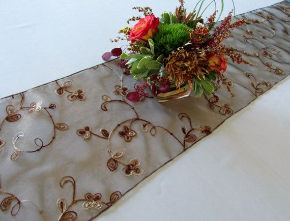 Table Runner Sequin Embroidered Organza Wedding Table