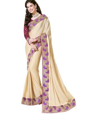 Heavy Broad Border & Stone Work Wedding Saree Sarees on Shimply.com