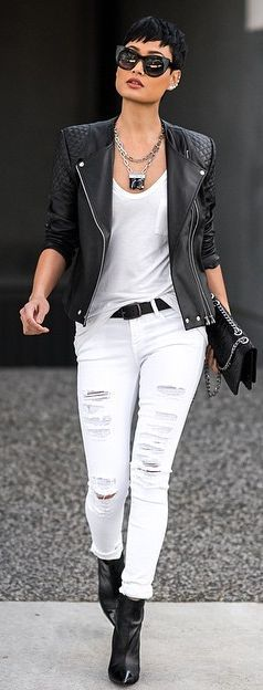 Lastest  Grey Colored Shirt Tucked In White Cuffed Skinnies And Heeled Sandals