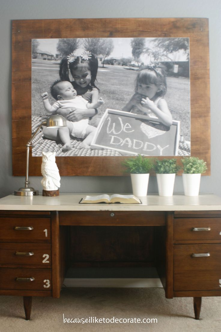 DIY Large (3'x4') engineering print from Staples.  Adhere to stained board.  Makes an easy large statement piece. $7.