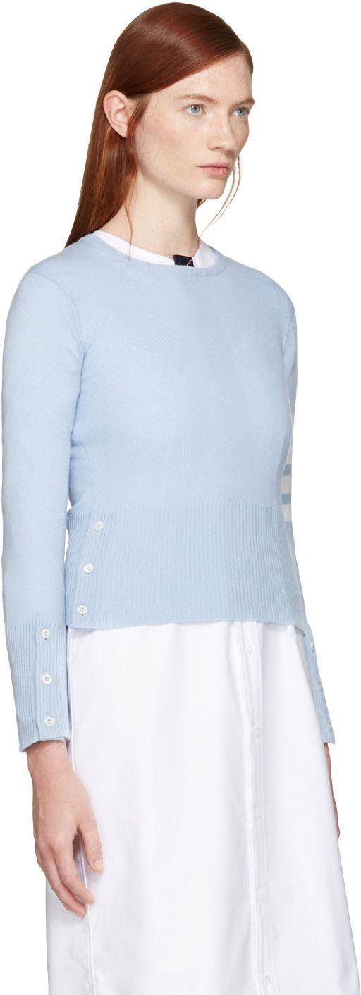 Том Браун - Синий Классический Crewneck Короткий пуловер