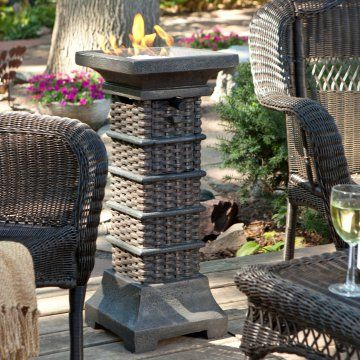 Break away from traditional tiki torches or backyard fire pits with this propane fire column.