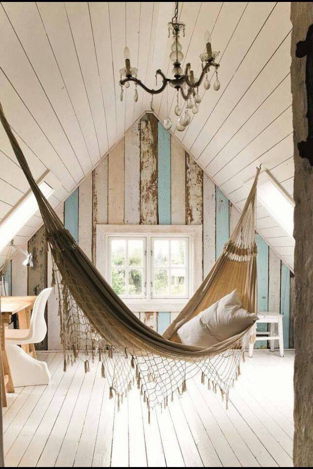 Hammocks give the whole room a new relaxing vibe