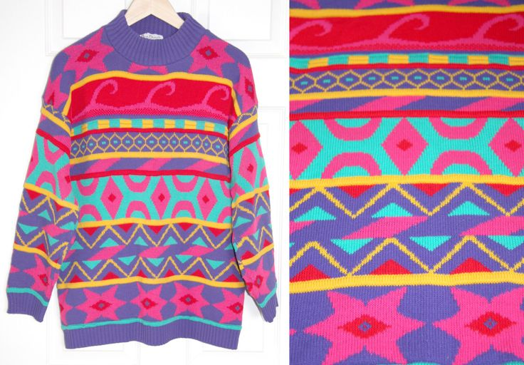 Vintage TUBULAR Sweater, Rad Rainbow Crazy Bold Neon Multi-color Multi-colour Festival Tribal Print Hipster Fashion Oversize Shirt 80s 90s by prismaticvintageshop on Etsy https://www.etsy.com/listing/224175591/vintage-tubular-sweater-rad-rainbow // hipster sweater dress // 80s 90s style // Coogi Cosby // bright fun unique // ugly sweater // statement piece