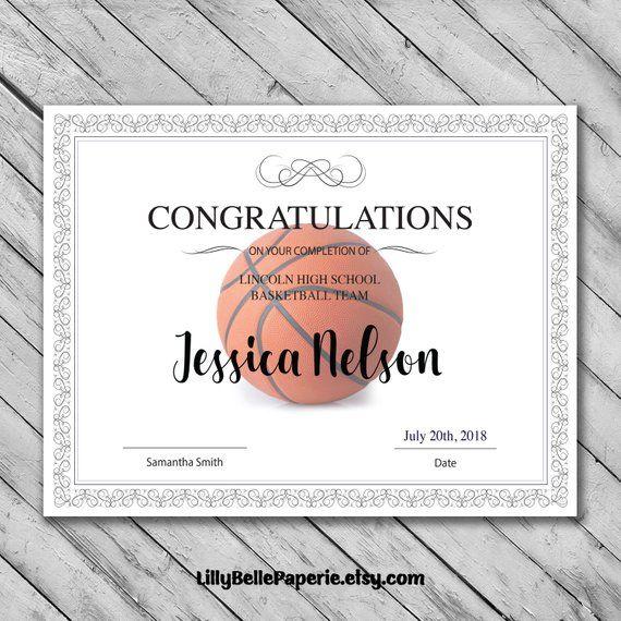 Editable Basketball Certificate Template Printable