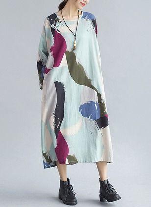 Винтажное платье из хлопока длины миди с цветочным принтом с длинными рукавами (1029752) @ floryday.com