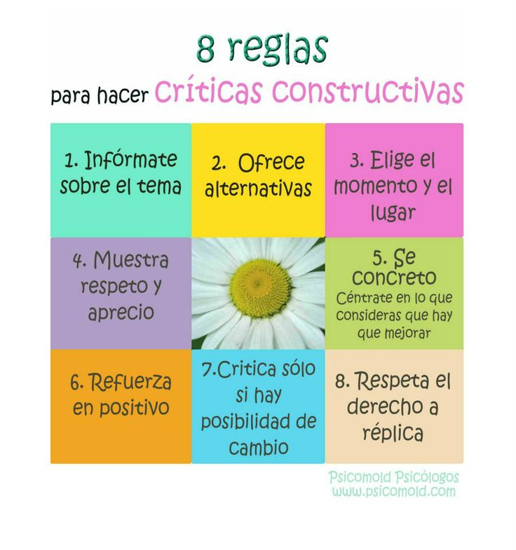 8 reglas para hacer críticas constructivas  Psicomold Psicólogos • Pioneros en Inteligencia Emocional www.psicomold.com Tel: 922 634 985