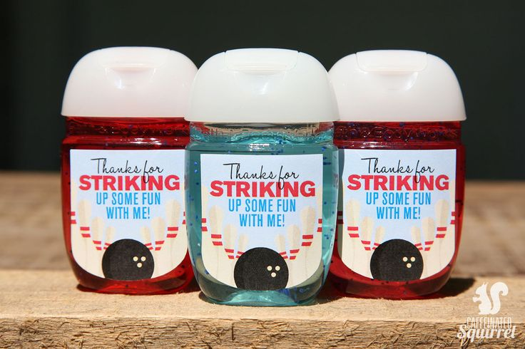 Bowling Party Sanitizer Labels - Perfect for Birthday Party, Bowling Ball, Pin, Strike up Fun, Thank you, Favor, Gift by CaffeinatedSquirrel on Etsy