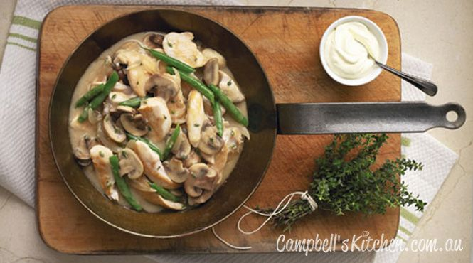 Creamy herbed chicken and mushrooms with rice