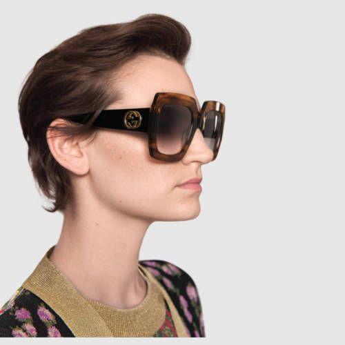 7fcea435701e New-Authentic-Gucci-Sunglasses-GG178S-Women-039-s-Transparent-Brown- Oversized-Square