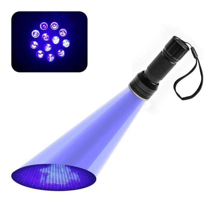 12LED UV Flashlight Handheld Blacklight Stain Pest Scorpion Detector Torch Money Detector Light, Silver aluminum