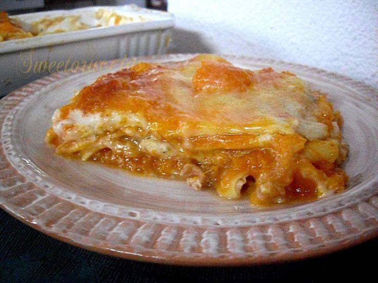 Lasagne cremose alla zucca con gorgonzola e noci, un primo piatto delle feste , ricco e squisito.