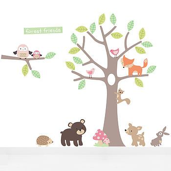 Pastel Forest Friends Fabric Wall Stickers. http://www.notonthehighstreet.com/parkinsinteriors/product/pastel-forest-friends-wall-stickers