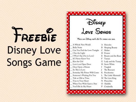 FREE Disney Love Songs Bridal Shower Game, Free Printable Disney Love Songs Matching game, Free Bridal Shower Game Download, Instant Download Games
