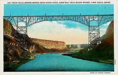 Twin Falls Idaho ID 1927 Jerome Snake River Bridge Antique Vintage Postcard