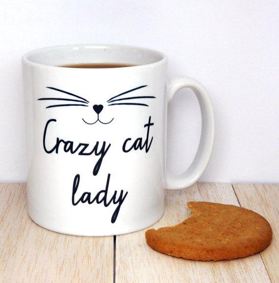 Crazy Cat Lady Coffee  Mug, Kitten Mug, Cat Face, Statement Mug, Inspirational Quote, Coffee Cup, Happy Mug, UK