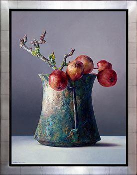 Zieräpfel in einer römischen Tasse   Stillleben-Ölgemälde von Adriana van Zoest   Exklusive Kunst zum Verkauf online in der Galerie Wildevuur