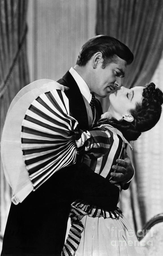 "Vivien Leigh and Clark Gable as Scarlett O'Hara and Rhett Butler in 1939's epic Civil War classic ""Gone With The Wind""."
