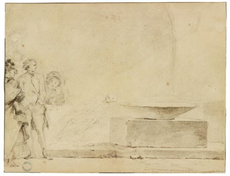 Fragonard, Jean-Honoré (Grasse, 1732 - Paris, 1806) (peintre), Découverte d'un squelette dans une maison de Pompéi, Pompéi, fait le 6 mai 1774. MT 14483. Achat Rochoux, 1865 © Pierre Verrier