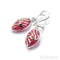 Kolczyki srebrne łezki opal różowy