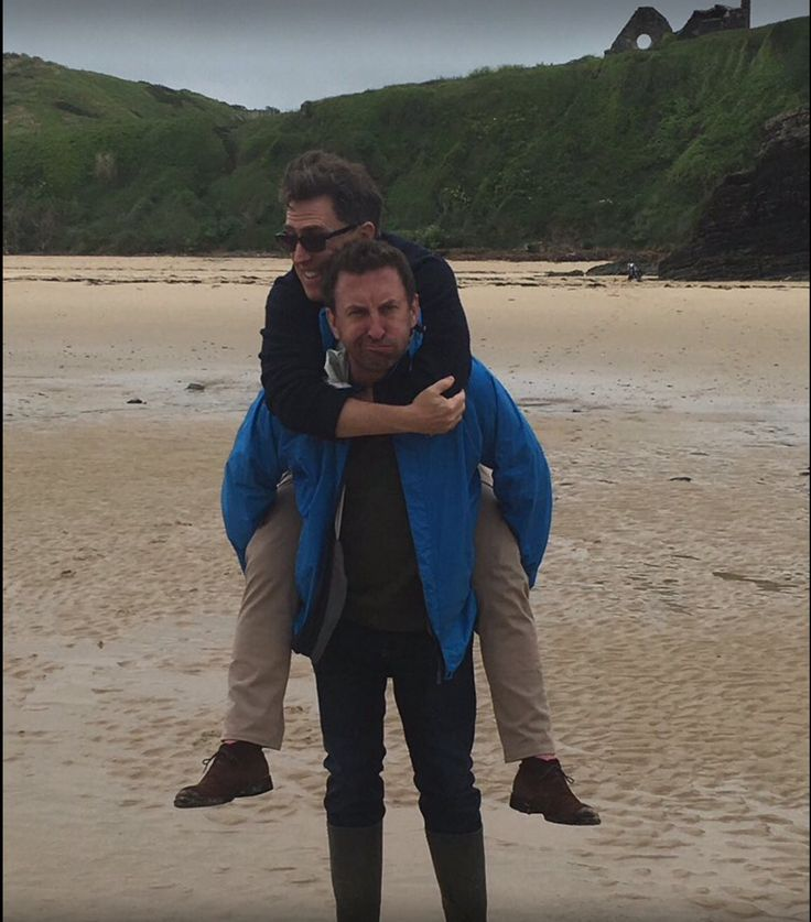 Lee Mack and Rob Brydon having fun on the beach wonder where David Mitchell is ?? maybe taking the pic