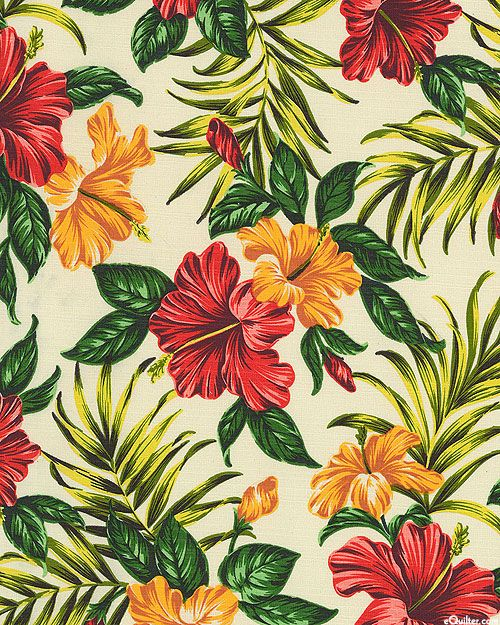 Hibiscus Retreat - Tropical Panache - Cream - BARKCLOTH