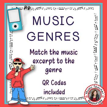 **** UPDATED January 2017*******Music Genres Listening Activities with QR Codes for Middle School musicThis ZIP file contains: A 10 page PDF file that contains the following: Outline/overview of the activities for the teacher Activity 1: Students match the genres listed to the listening tracks (QR codes to the music videos are provided in the download) Answer sheet to the genre matching activity Activity 2: A table outlining the elements of music and a definition of each is provided.