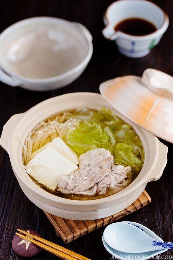 Hot Pot for One with Napa Cabbage & Sliced Pork Belly (白菜と豚バラの一人鍋)   Easy Japanese Recipes at JustOneCookbook.com