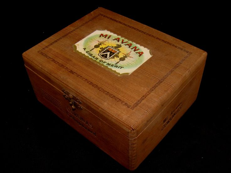 Old cigar box-mi avana cigar box-coronas cigar box-vintage wood cigar box-boite nature-mi avana coronas-rare finger jointed wooden cigar box by BECKSRELICS on Etsy