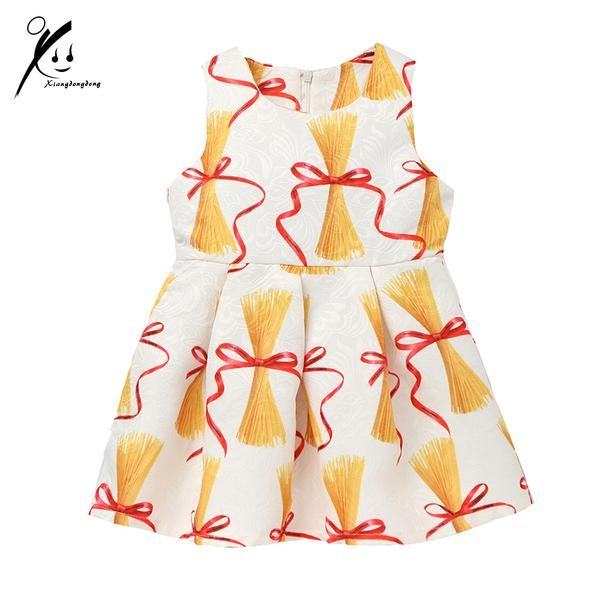 Girls Spring/Autumn Dresses High Quality Pasta Printed Designer Casual White Sleeveless Knee-Length Dress 3-7 Years