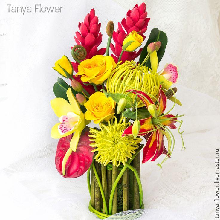 Купить Большой букет тропических цветов в бамбуковой вазе. - tanya flower, букеты из глины