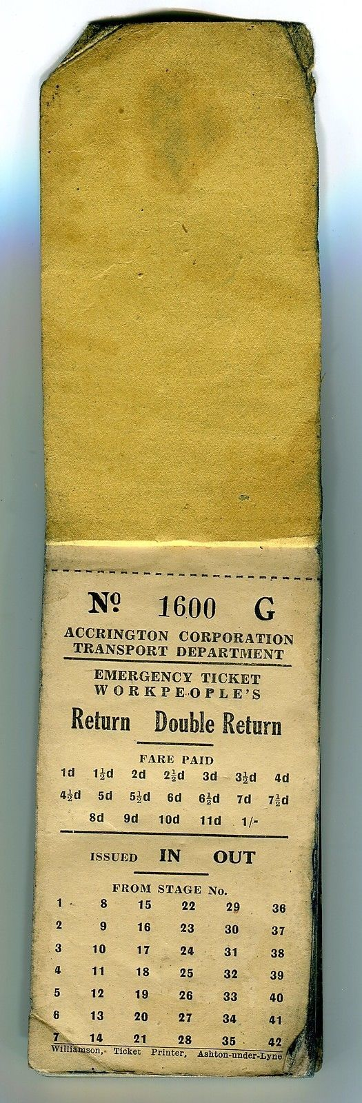 A book of 50 unused 'Emergency Workpeople's Tickets', from Accrington Corporation Transport Department. There is also some 'dog-earing' to the corners of the top tickets. | eBay!