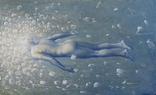 swimmer of the abysses . 2009-2010 olio su tavola cm 32 x 68