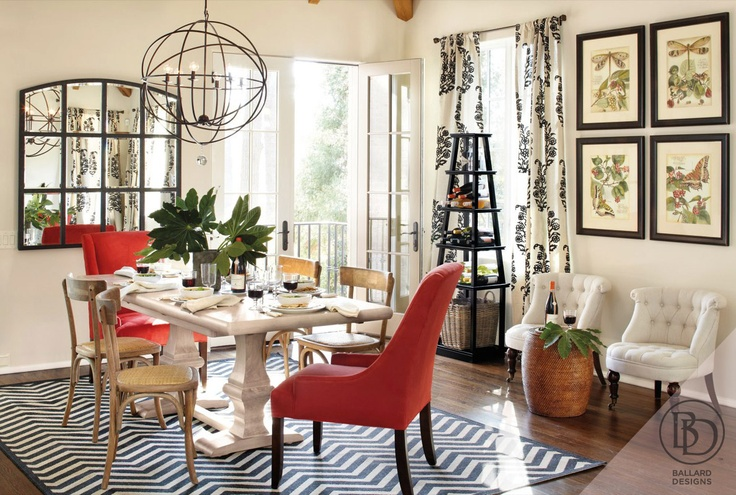 A chevron rug accents this neutral yet graphic dining for Ballard designs dining room