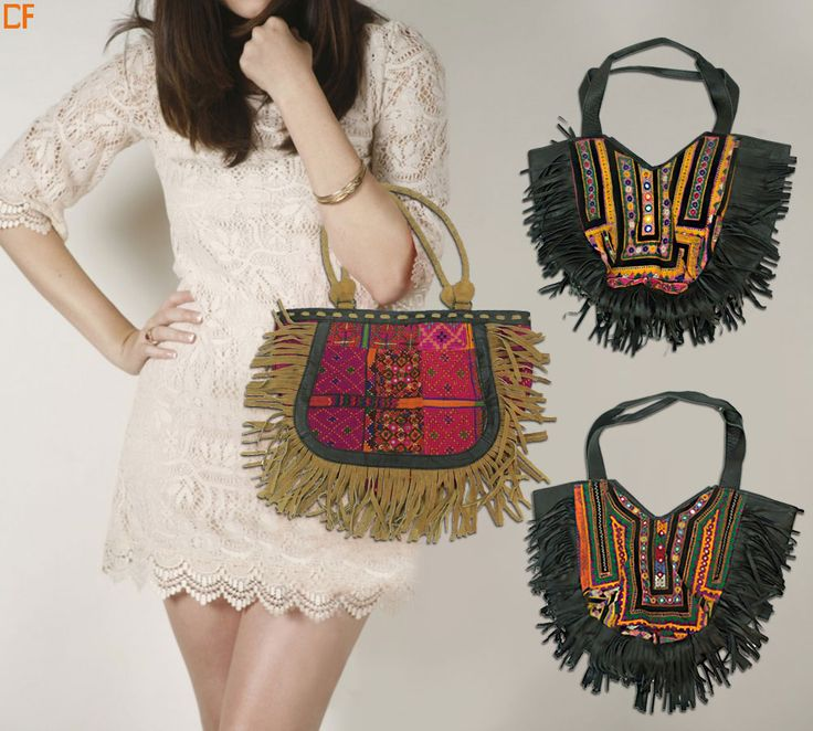 Boho is the look! Top it off with bohemian jewellery and lacey top. Bags available in olive green, beige and all time favourite black. #Boho #BohemianLook #Trippy #Bags #DroomFashion To re-create this boho look, shop at http://www.droomfashion.com