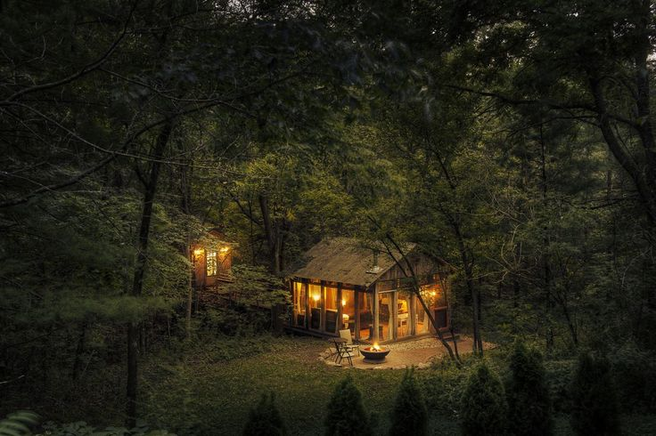 The Glass house by Candlewood Cabins - photo at night