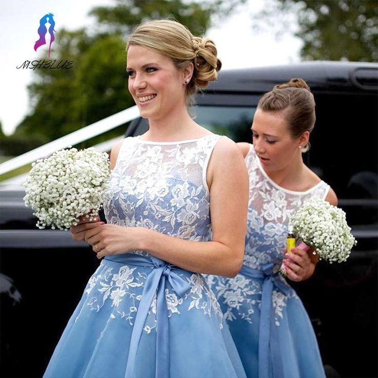 ==> [Free Shipping] Buy Best New Arrival White Lace Appliques Bodice Bridesmaid Dresses 2017 With Sashes Organza Tea Length Formal Women Party Gowns Online with LOWEST Price | 32798060497