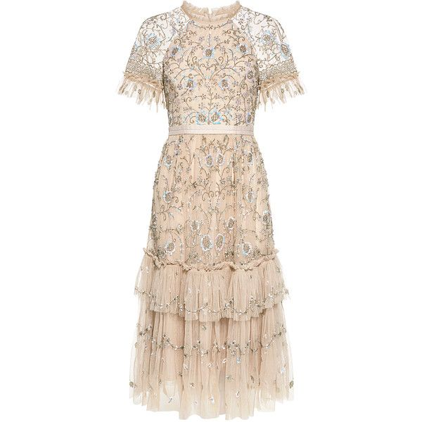 Needle & Thread - Constellation Embellished Floral Lace Ruffled Midi... (£495) ❤ liked on Polyvore featuring dresses, holiday cocktail dresses, floral print cocktail dress, pink floral dress, pink lace dress and floral midi dress