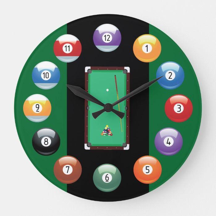 Billiard Balls Wall Clock Zazzle Com Clock Wall Pool Table