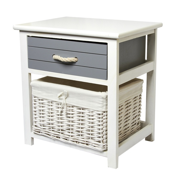 Nautical 1 Drawer Unit With A Wicker Basket Dunelm