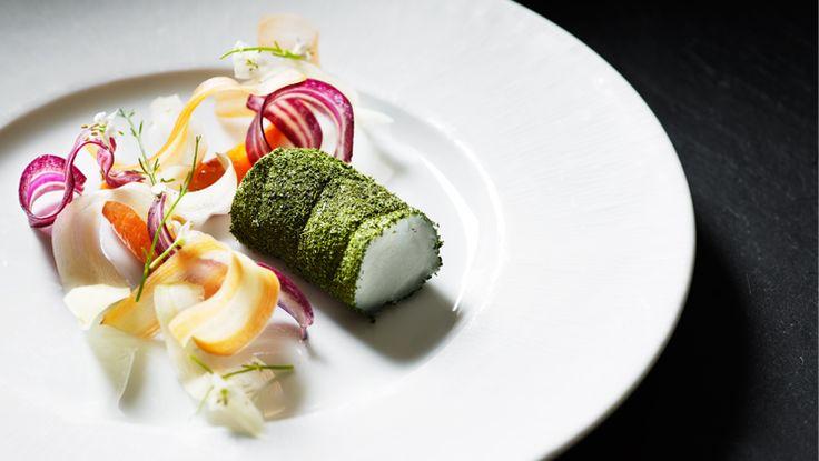 Restaurant Kokkeriet in Copenhagen Denmark Michelin star. Monkfish, carrots, chamomile and dill starter dish