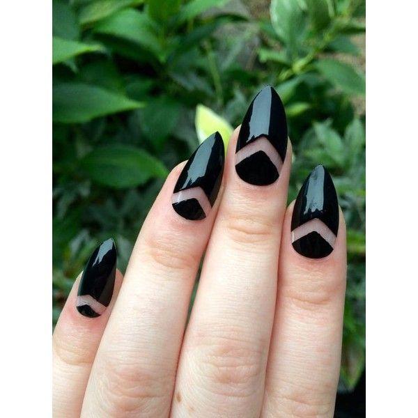 Daisy fake nails, floral nail art, black acrylic nails ❤ liked on Polyvore featuring beauty products, nail care and nail treatments