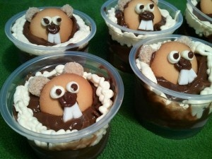 Groundhog Day Pudding Cups ready to go to Preschool, how to make recipe....