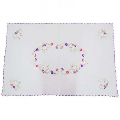 """Cotton Table Cloth White Embroidered Table Cover Rectangular Table Linen 53""""X37"""""""