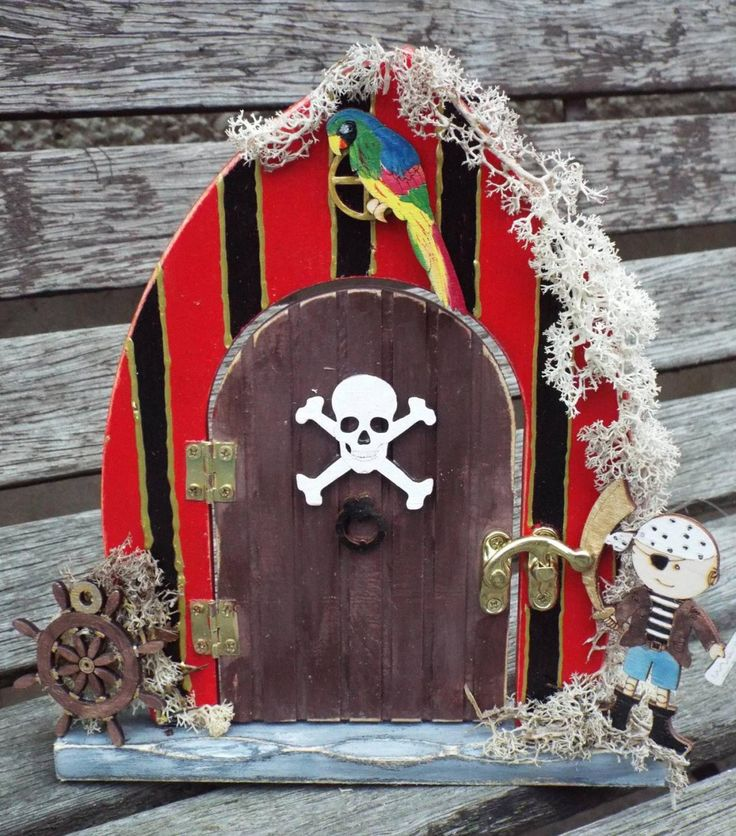 PIRATE-THEMED FAIRY Door. Free standing, hand-painted. Custom made to order and decorated by hand. by KatijanesCreations on Etsy