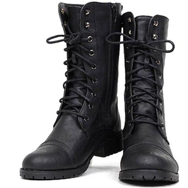 Nature Breeze Lug-11 Women's Military Lace Up Combat Boots ($19) ❤ liked on Polyvore featuring shoes, boots, ankle booties, combat boot, military boots, black army boots, army boots, laced boots and black boots