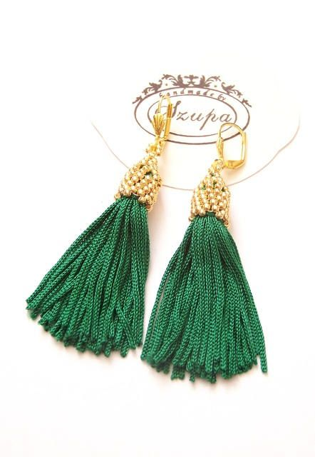 Green tassel earrings, boho earrings, long tassel earrings, fringe earrings, chandelier earrings, handmade earrings, tassel jewelry, by Szupa on Etsy