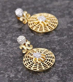 Golden Embellished Earrings with Pink Drop