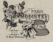 Paris Modiste Français Mode Ad instantanée Télécharger Digital Image No.51 transfert sur tissu de tissu (toile de jute, lin) des tirages papier (balises de cartes)